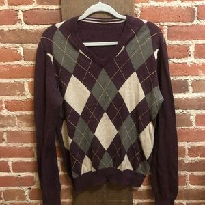 Men's maroon argyle sweater with v-neck
